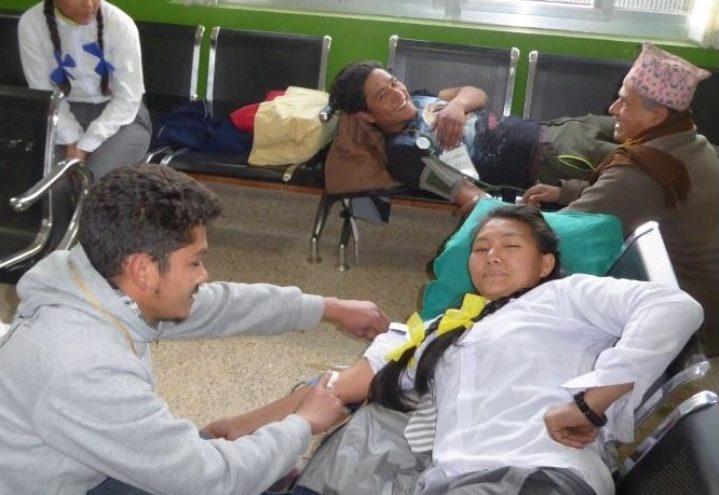Blodbank-aksjon på Okhaldhunga sykehus